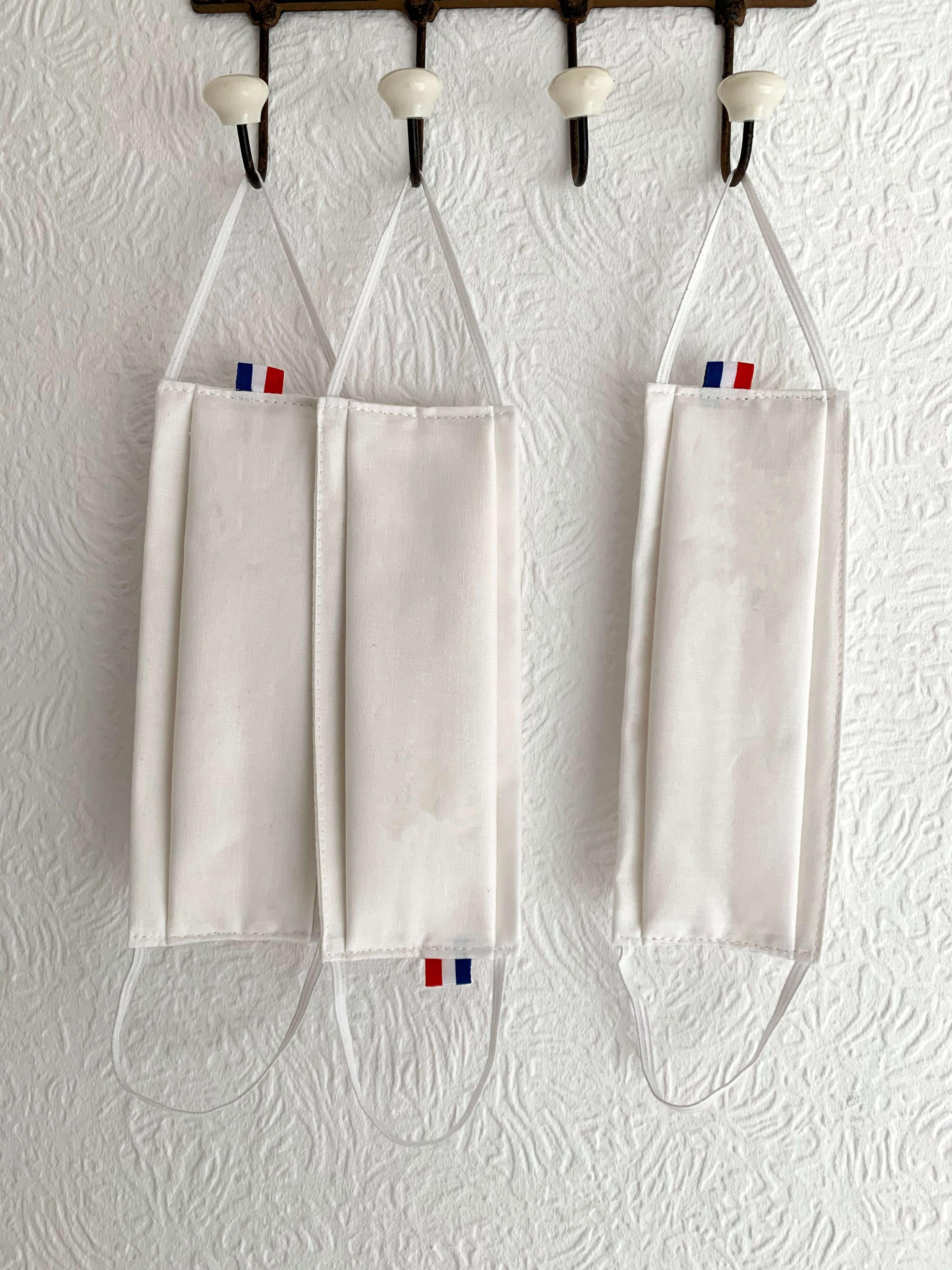 Ariane 7 - masque blanc en tissu made in france